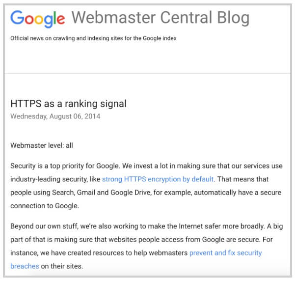Google Webmaster Blog - HTTPS as a Ranking Signal!