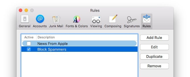Mac Mail Rules