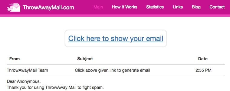 Help fight SPAM email with ThrowAway Mail.