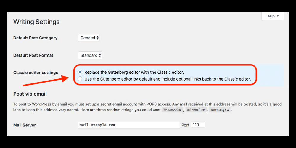 WordPress Classic Editor Settings