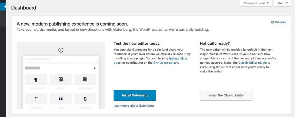 Try Gutenberg for WordPress 4.9.8