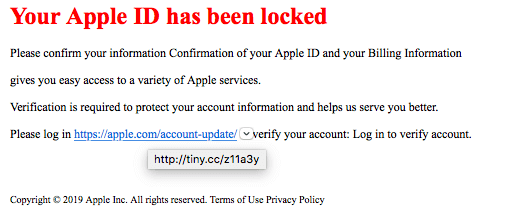 SCAM Email - Your Apple ID has been Locked!