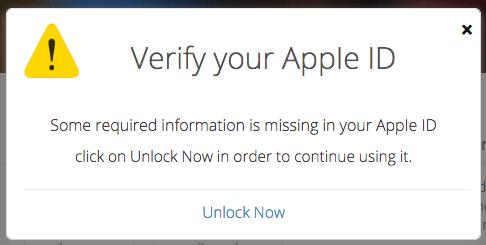 Fraudulent Website Message - Verify your Apple ID.