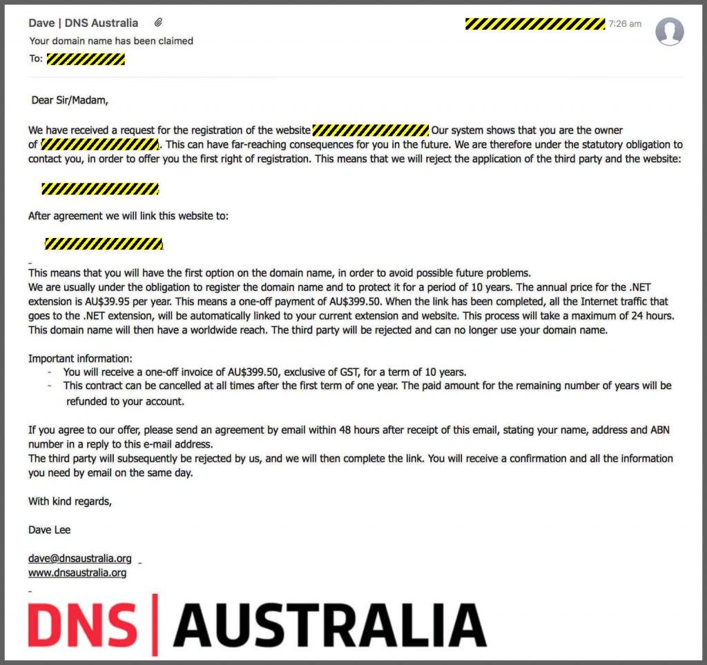 DNS Australia SCAM! This email from dnsaustralia.org states that your domain name has been claimed? Don't fall for it, it's just another domain name SCAM!